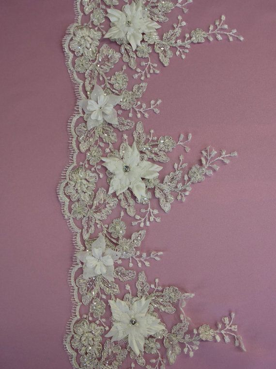 BEADED Floral Lace Trim - NAOMI in White or Ivory