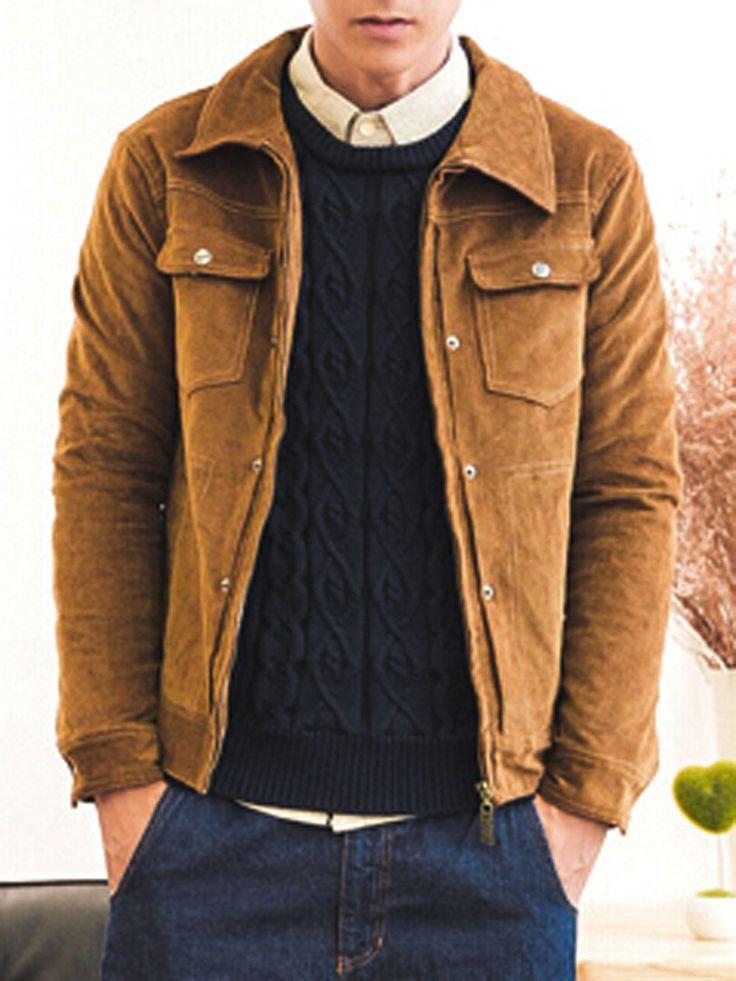 Dark Goldenrod Floral Lining Corduroy Jacket