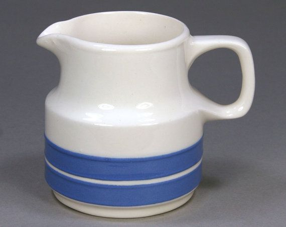 Vintage Blue & White Striped Creamer Pitcher by RetroVinti on Etsy