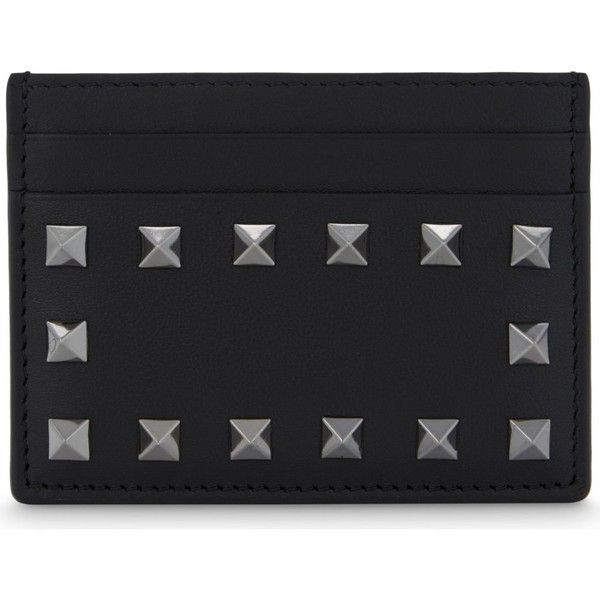 Valentino Noir Rockstud leather card holder featuring polyvore women's fashion bags wallets credit card holder wallet 100 leather wallet valentino wallet card carrier wallet real leather bags