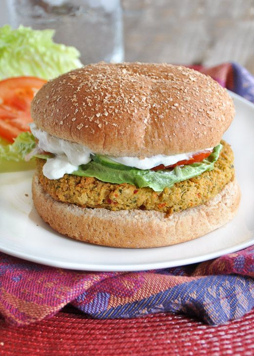 Falafel Veggie Burger with Feta Yogurt Sauce  LOVE chickpeas in a patty form!  SO making this soon!