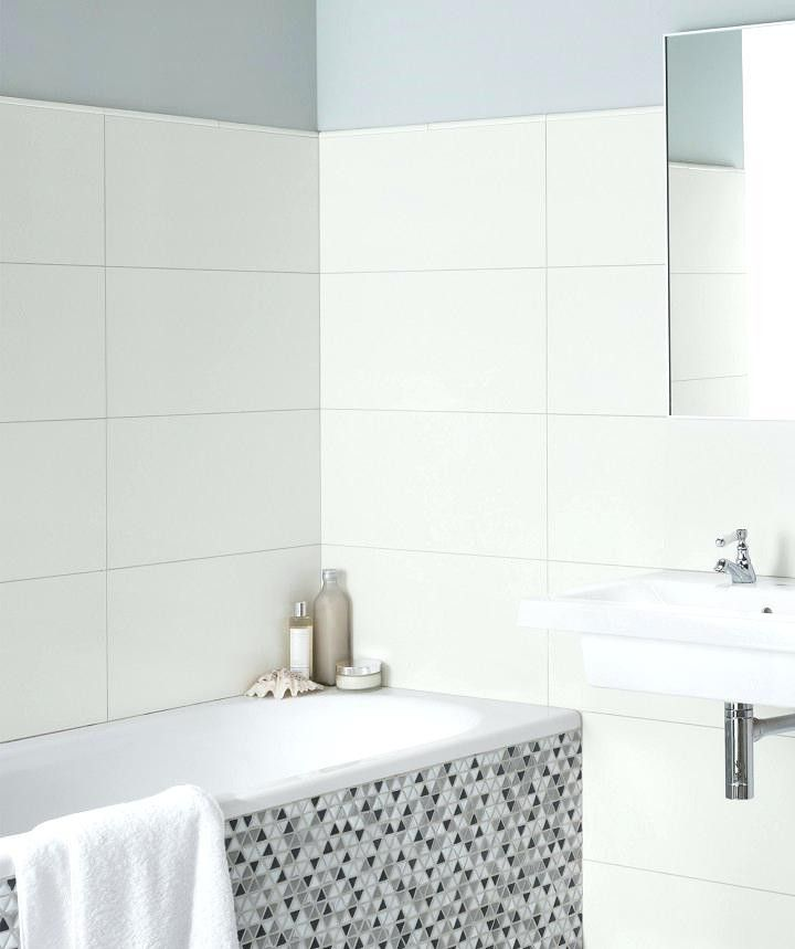 Stacked 12x24 White Tile With Light Gray Beige Grout Latest Bathroom Tiles Matte Tile Bathroom White Wall Tiles