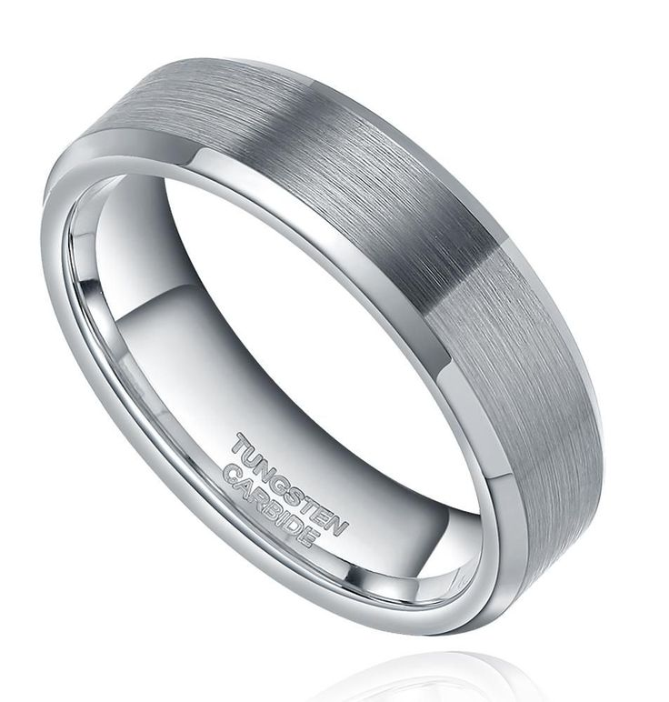 Christmas Gifts For Him - Silver 6MM Tungsten Carbide Men's Promise Rings