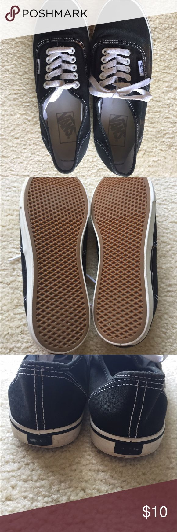 Black Vans Woman's 7 Good condition woman's 7 men's 5.5! Please note the stains and fading of the logo on the back. Stains are not real noticeable, but are most certainly there. Reasonable offers are considered through the offer button Vans Shoes Sneakers
