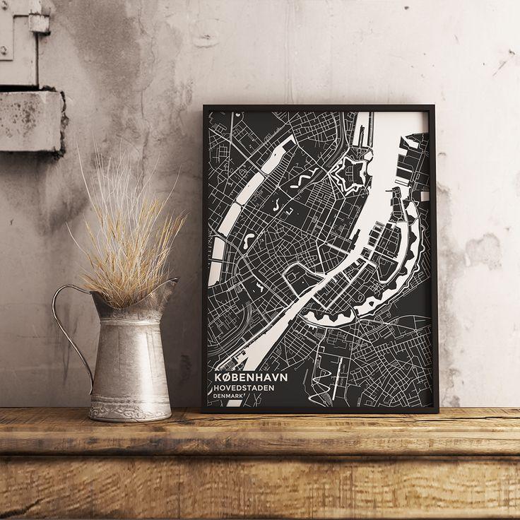 Louisiana Denmark Map%0A Premium Map Poster of Copenhagen Denmark  Subtle Contrast  Unframed   Copenhagen Map Art