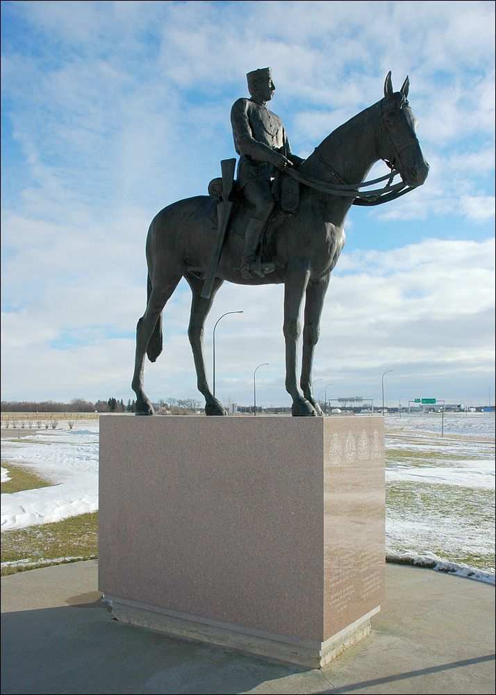 """The March West"": Amazing Mountie sculpture in Emerson, Manitoba. ""In remembrance of the 300 members of the newly formed North West Mounted Police who set out on their famous march west from nearby Fort Dufferin on the 8 July 1874 to bring law and order to the western Canadian frontier."""