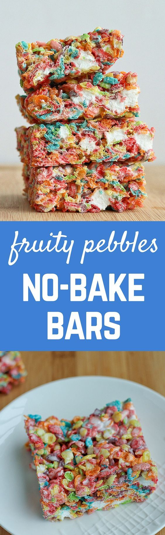 These fun treats are an easy twist on the classic rice crispy treats -- your kids (and adults, too!) will love these fruity pebbles no-bake bars.