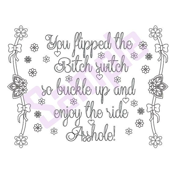 sweary coloring page buckle up swearing coloring by sueswears