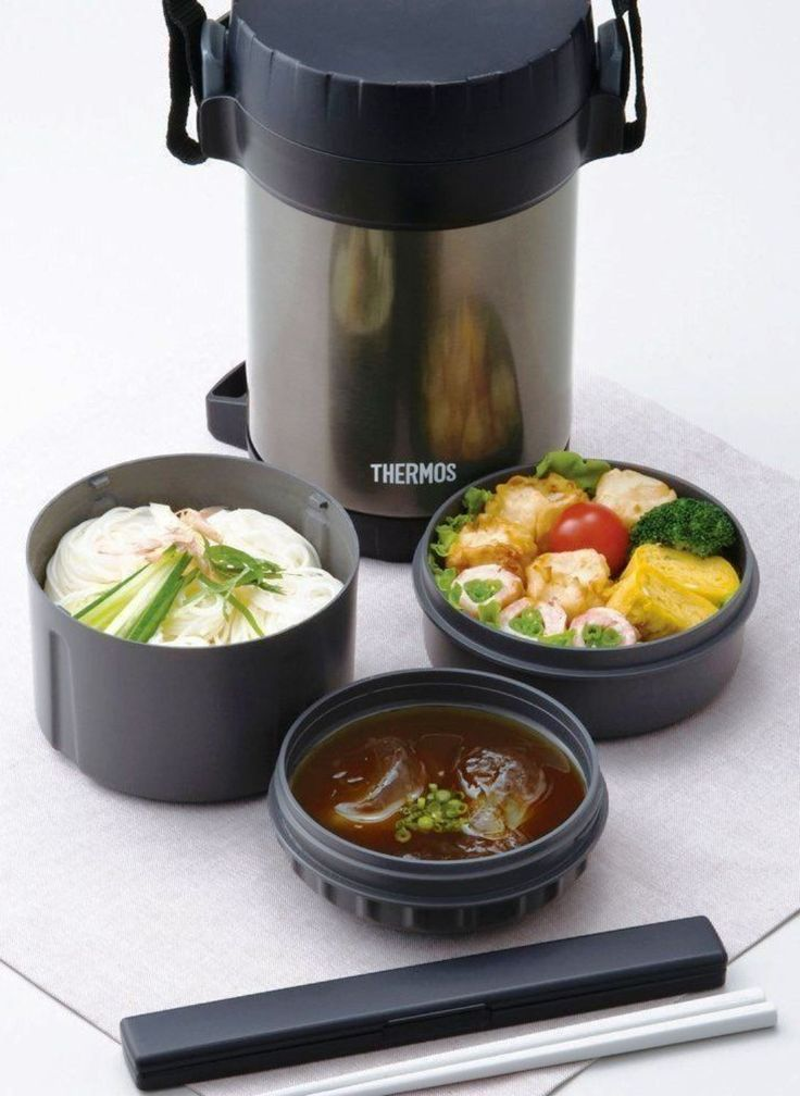 NEW THERMOS 1.3L SS FOOD STORAGE WITH 3 COMPARTMENTS Vacuum Insulated Chopsticks