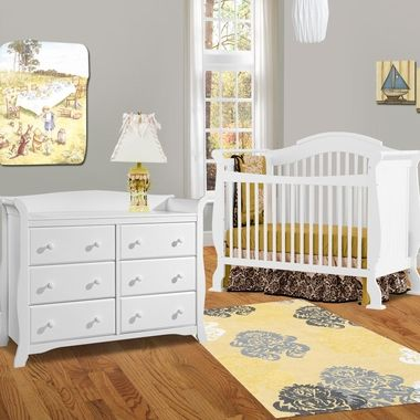 Storkcraft 2 Piece Nursery Set - Valentia Convertible Crib and Avalon 6 Drawer Double Dresser in White - Click to enlarge