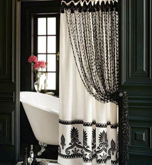 Long Shower Curtain Ideas with Luxury Black and White Accents #bathroom decor