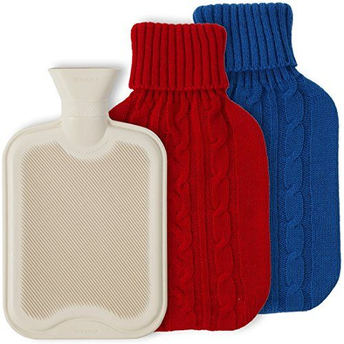 Lily's Home Hot Water Bottle For Cramps And Pain Relief With 2 Knit Covers. 2 Liter  LONG LASTING WARMTH. Fill this traditional rubber hot water bottle with hot (not boiling) water to relieve menstrual cramps, loosen tight muscles, and keep your bed warm in the winter.  FOR HOT OR COLD WATER. Alternate heat and cold water to soothe aching muscles.  STRONG SPOUT. Spout holds its shape for easier filling. Fill only to two-thirds capacity maximum.  HIGH QUALITY RUBBER. Rubber construction...