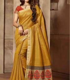 Buy Yellow woven cotton_silk saree with blouse banarasi-silk-saree online