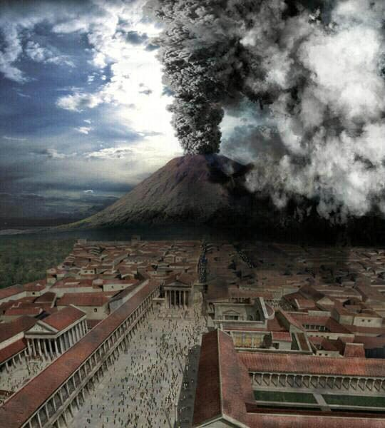 Computer generated imagery of the eruption of Mount Vesuvius as seen from Pompeii in 79 CE