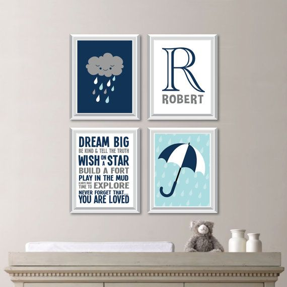 Baby Boy Nursery Print Art - Boy Nursery Decor - Boy Nursery Art - Umbrella Art. Rain Cloud Art. Boy Rules. Weather Art. Bedroom Art  NS-747