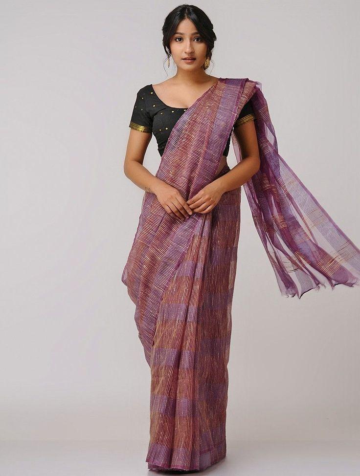 Buy Purple Beige Matka Noil Silk Cotton Saree Sarees Woven Online at Jaypore.com