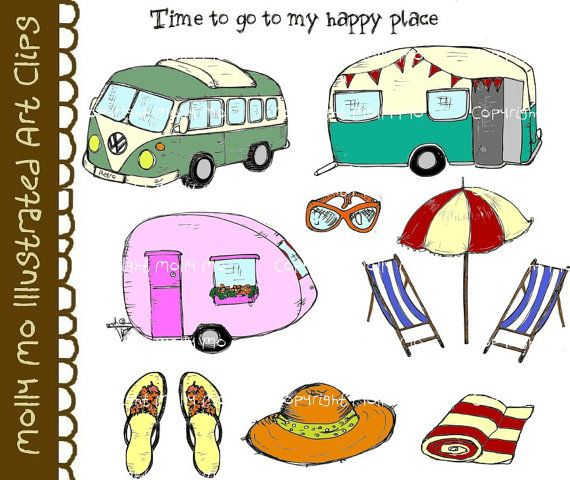 INSTANT DOWNLOAD Retro Vintage Camping Travel Doodle Digital Clip Art Paper Craft Print