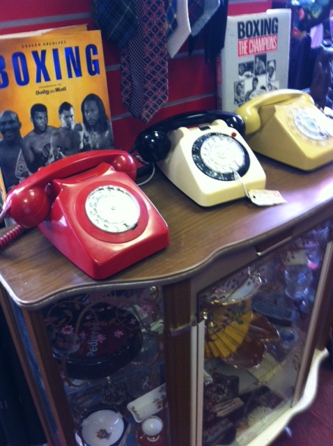 Vintage phones in Maud's, Bexhill