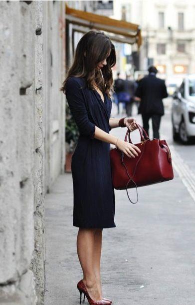 Deep blue dress and burgundy bag and heels