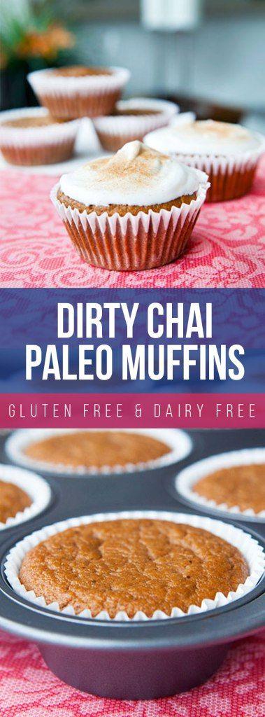Dirty Chai Paleo Muffins with Cinnamon Sugar Whipped Cream