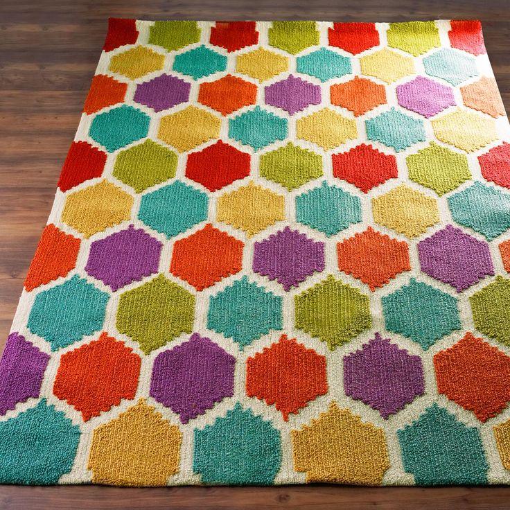 Purple Canvas Rug: Rainbow Honeycomb Pattern Rug