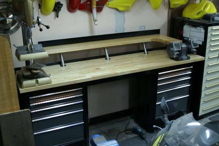 Garage workbench with drawer storage - easily converted to metals table using flat files vs tool boxes.