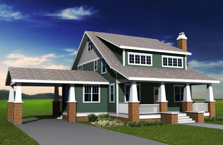 Bungalow with Shed Dormer and Carport - 50109PH | Architectural Designs - House Plans