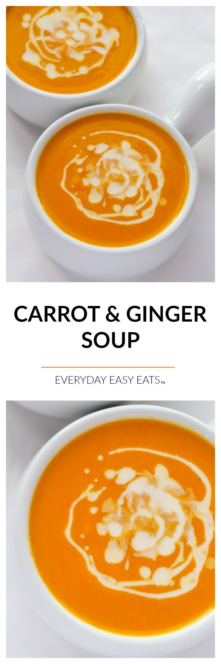 Carrot & Ginger Soup - A velvety, flavorful soup that is gluten-free, dairy-free and vegan. | EverydayEasyEats.com