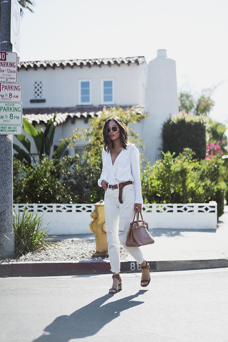 Helmut Lang Wrap Blouse Mango Buckle Belt Levi's White Boyfriend Jeans Celine Two Tone Sandals  Hermes Birkin Bag