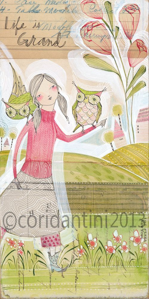 watercolor - girl with owls - life is grand - a 5 x 10 inch limited edition - archival print - by cori dantini