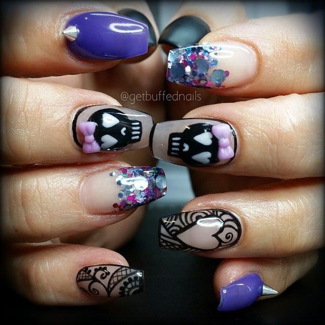 Cute #punk nails! Love this look! Lavish nails has all your nail art and 3D covered!! #nailart #lavishnails
