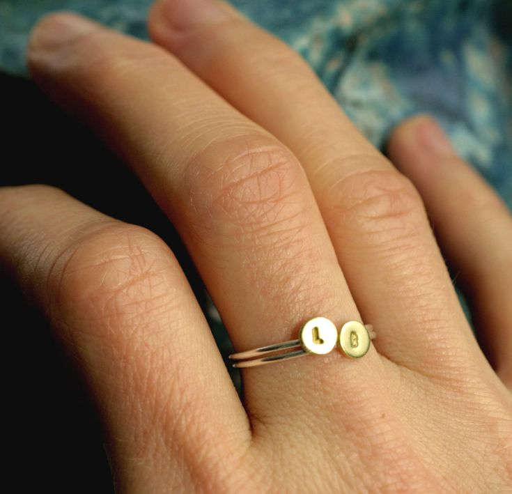 tiny initial ring stacking initial ring small gold initial ring silver stacking ring personalized ring custom ring INITIAL STACKING RING by museglass on Etsy https://www.etsy.com/listing/264717008/tiny-initial-ring-stacking-initial-ring