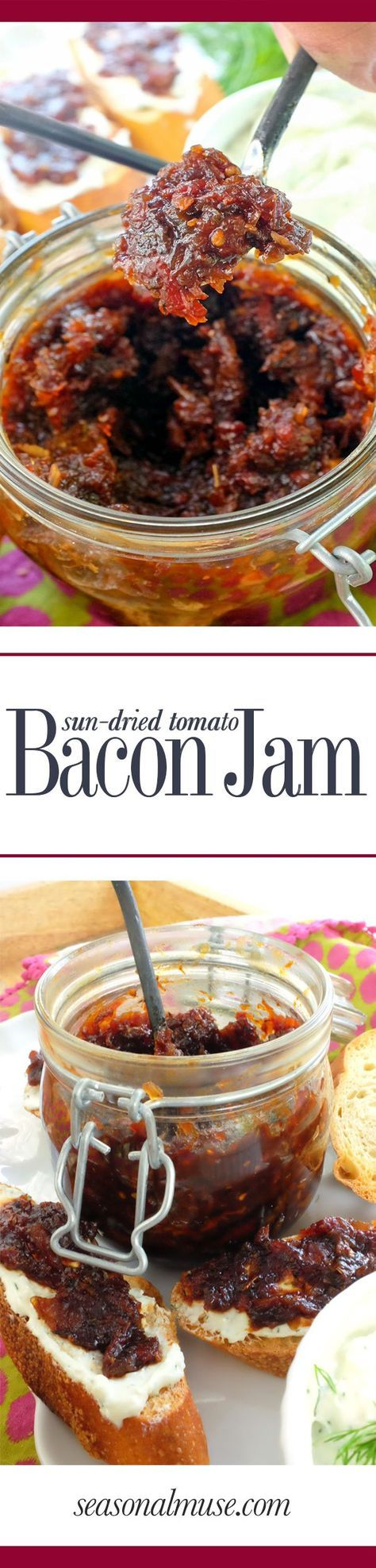 Bacon Jam with sun-dried tomatoes - YUM! Add it to your cheese board or tapas bar menu. Fantastic on a burger or panini | seasonalmuse.com