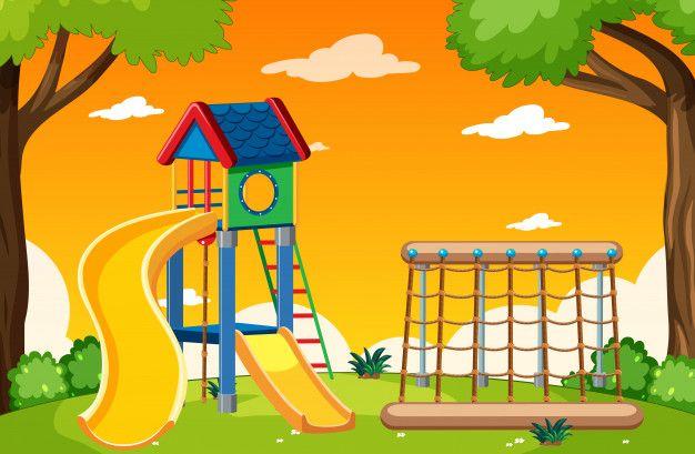 Parque Infantil En El Parque Con Estilo Free Vector Freepik Freevector Parques Infantiles Parques Estilos De Dibujo