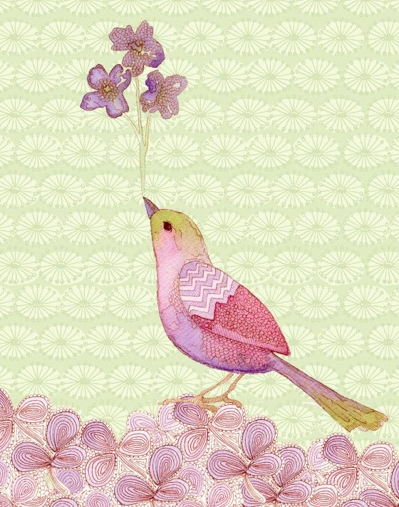 sweet bird and flower watercolor