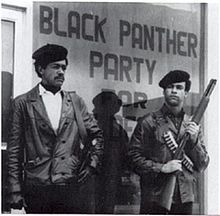 Black Panther Party - Wikipedia, the free encyclopediaBlack Panther Party founders Bobby Seale and Huey P. Newton standing in the street, armed with a Colt .45 and a shotgun.