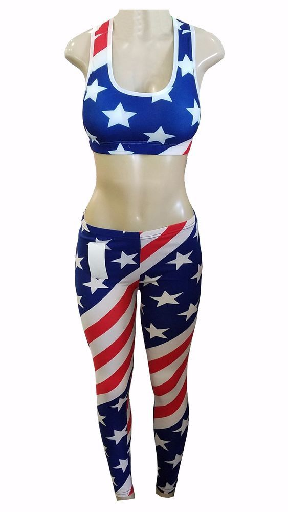 Women's American Flag Leggings Pants and Bustier Top Print Stars and Stripes  #Simplicity