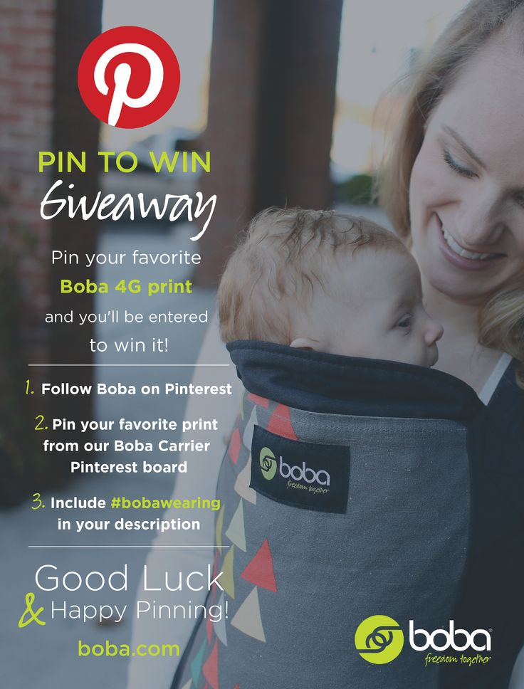 It's a Boba Carrier 4G Giveaway right here on Pinterest. Enter now through Thursday, July 31. Winner will be chosen at random from all entries and announced here on Friday, August 1 (one entry per participant). This week! To enter, simply follow @Boba, pin your favorite carrier from the Boba Carrier Pinterest board, and use #bobawearing in your pin description. That's it! Have a great week ya'll! #babywearing #motherhood #contest #giveaway #bobalove #baby