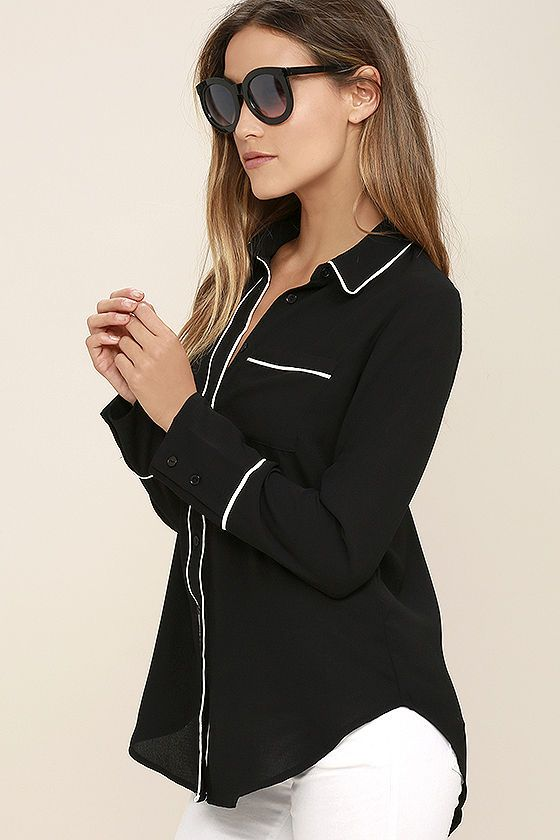 $54 Executive Decision Black and White Button-Up Top