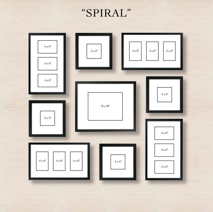 Spiral Gallery Wall Layout Tip: start with placing the center frame, and then spiral out the other frames in the arrangement you see. Make sure there is an even amount of space between all of the other frames and the center frame. The outer frames will lend to a natural square shape.
