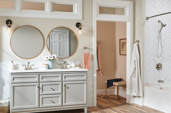 Mixed Metals Makes Your Design Seem More Professional And Current At Rebath Omaha We Love To Mix M Bathroom Design Bathrooms Remodel Round Mirror Bathroom