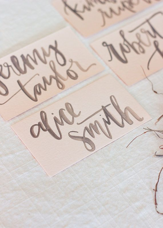 Grey Watercolor Calligraphy on Blush Place Card by afabulousfete