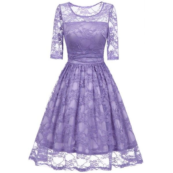 Vintage Fit and Flare Lace Dress ($20) ❤ liked on Polyvore featuring dresses, lace dress, purple lace dress, vintage fit and flare dresses, purple fit and flare dress and lace fit-and-flare dresses