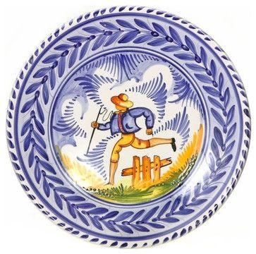 Spanish Majolica Country Folk Large Decorative Plate mediterranean-decorative-plates