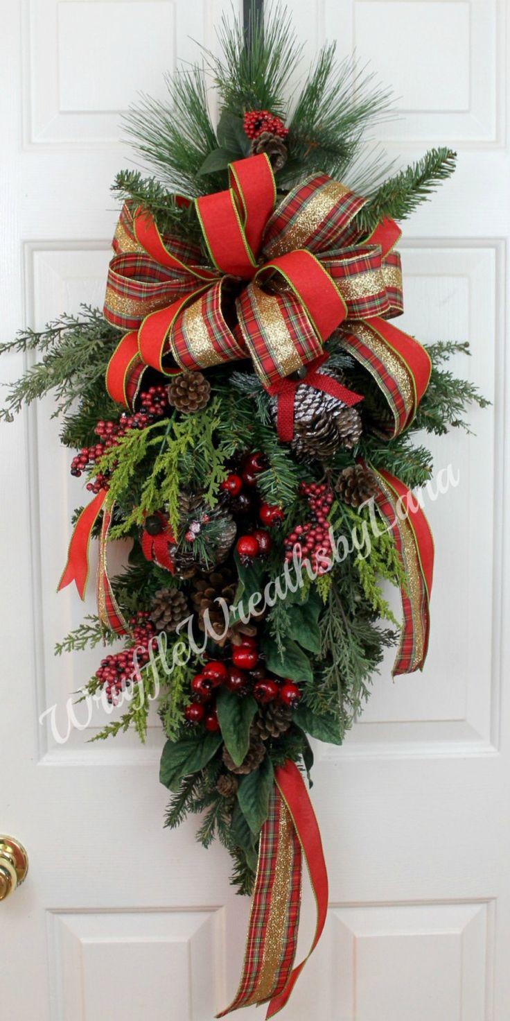 Christmas Teardrop Swag, Christmas Swag, Holiday Swag, Christmas Wreath, Christmas Door Wreath by WruffleWreathsbyLana on Etsy