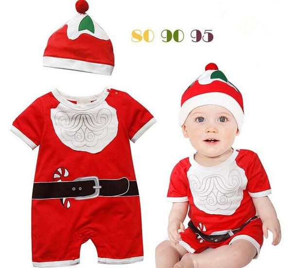 boy and girl cute Santa Claus clothes with a cap cotton clothes short sleeves rompers newborn Christmas gift disguise jumpsuit #Affiliate