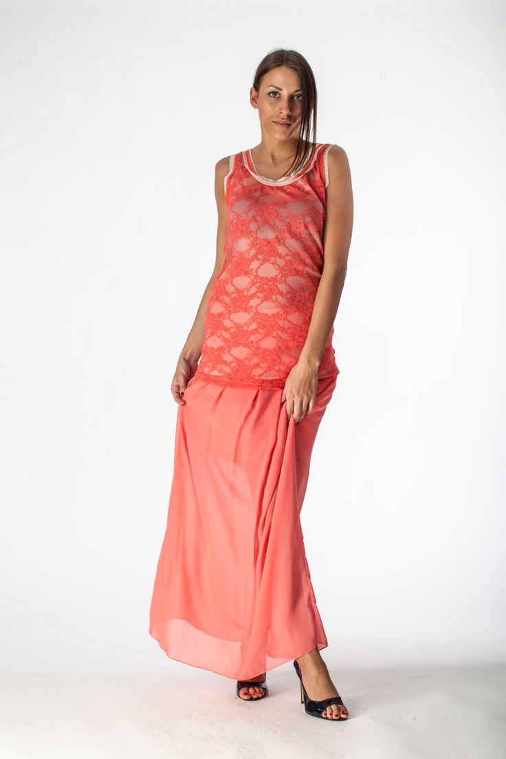 Falda coral, coral skirt, gonna corallo.