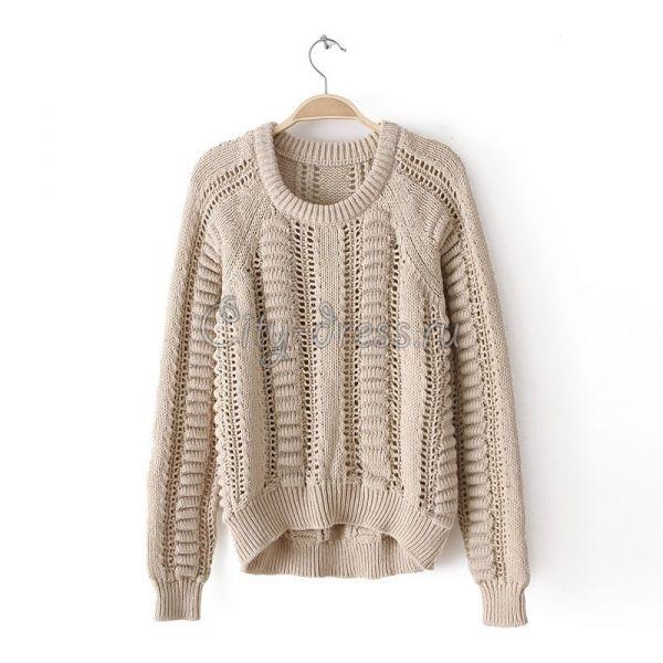 Фото бежевый свитер крупной вязки женский
