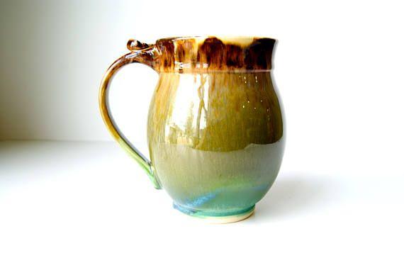 Coffee Mug Tea Mug Drinking Vessel Green and Brown
