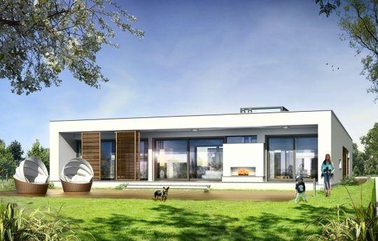 """Przedstawiamy wyjątkowy projekt domu Willa Atrium - parterowy dom jednorodzinny, zaprojektowany jako jednokondygnacyjne przekryte płaskim dachem """"pudełko"""", z otwartą elewacją frontową - wejściową, oraz przeszkloną elewacją ogrodową i tytułowym wewnętrznym atrium. Atrium w środkowej części bryły pozwala na doświetlenie wewnętrznych pomieszczeń, oraz stworzenie prywatnego, intymnego ogródka - zupełnie odizolowanego od oczu sąsiadów."""